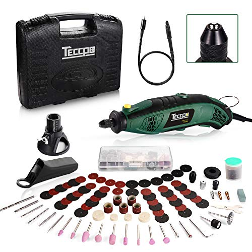 TECCPO Rotary Tool Kit 1.5 amp, 6 Variable Speed with Flex Shaft, Universal Keyless Chuck, 84...