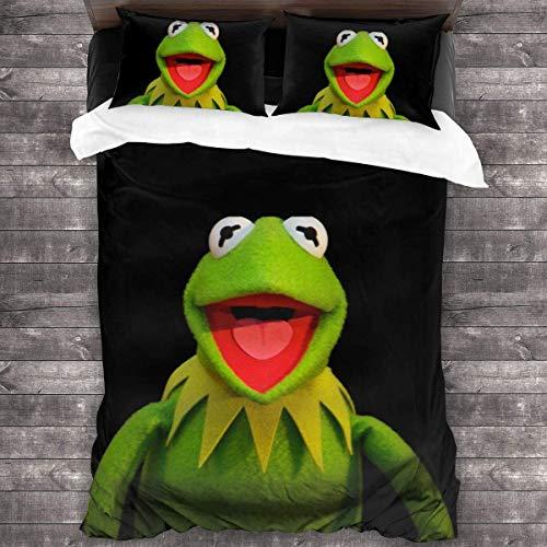 KDRW Ker-Mit The Frog-Bedding-Sets, Comforter Set Full, 3 Piece Bed Sets, Ultra Soft Microfiber Unisex Bedding Set Modern Pattern Printed