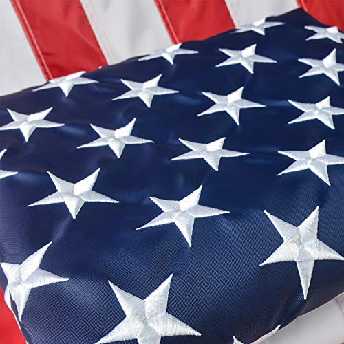 American Flag 25x4 Ft US Flag/USA Flag with Oxford Nylon Material Vivid Color Sewn Stripes Brass Grommets Embroidered Stars Perfect for Indoor/Outdoor Use
