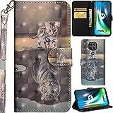 C/N DodoBuy Hülle für Motorola Moto G9 Play, 3D Flip PU Leder Schutzhülle Handy Tasche Wallet Hülle Cover Ständer mit Trageschlaufe Magnetverschluss - Katze Tiger