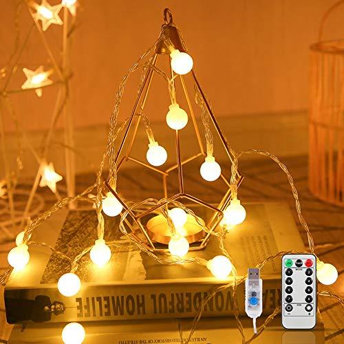 Led Kugel Lichterkette, 100LEDs 10m Warmweiß Lichterkette 8 Modi USB Glühbirne Lichterkett mit Fernbedienung, Innen LED lichterkette für Party, Weihnachten, Halloween, Hochzeit (Warmweiß)