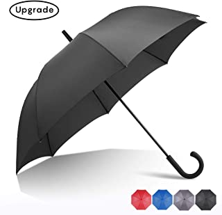 RUMBRELLA Black Hook Handle Umbrella Windproof, j Umbrellas Auto Open 54IN