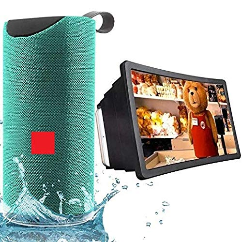 Drumstone [ *Buy BT Speaker & Get Mobile Screen Free] Party-Bass-Box Bluetooth 5in1 Multimedia Speaker with 3D Mobile's Screen Amplifier [Multicolor]