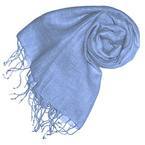 Lorenzo Cana Luxus Damenschal Leinenschal 100% Leinen 70 x 180 cm Tuch Naturfaser Trendfarbe Hellblau 93304
