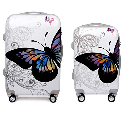 Suitcase 20in 24in Custodie per valigie trolley da viaggio Butterfly Hardshell 2 pezzi Spinner Luggage Nested Set per le donne Valigia Carry-on Trolley 360 ° Silent Spinner Ruote multidirezionali Airp