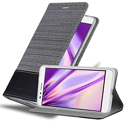 Cadorabo Hülle für Honor 5X / Play 5X / Huawei GR5 - Hülle in GRAU SCHWARZ – Handyhülle mit Standfunktion & Kartenfach im Stoff Design - Hülle Cover Schutzhülle Etui Tasche Book