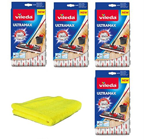 Vileda Ultramax Zusatzbezüge 4Stk Universal-Mikrofaserlappen I Wischbezug Ultramax für Holzböden Parkett Laminat PVC I Bezug für Bodenwischer Ultramat, Ultramax Professional I 5er-Set (Modell 4)