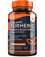 Bio Kurkuma Capsules (met Curcumine) 1440 mg met Zwarte Peper en Gember - 180 Vegan Kurkuma Capsules met Hoge Dosering (3 Maanden Voorraad) - Gemaakt in het Verenigd Koninkrijk door Nutravita