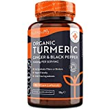 Organic Turmeric 1440mg with Black Pepper & Ginger - 180 Vegan Turmeric Capsules High Strength (3 Month Supply) – Organic Turmeric with Active Ingredient Curcumin - Made in The UK by Nutravita