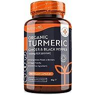 Organic Turmeric 1440mg with Black Pepper & Ginger - 180 Vegan Turmeric Capsules High Strength (3 Mo...