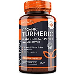✔ WHY BUY NUTRAVITA'S ORGANIC TURMERIC WITH BLACK PEPPER & GINGER? - Each 1440mg daily serving (2 capsules) of our Organic Turmeric contains: 1340mg of Organic Turmeric (670mg per capsule), 80mg of Organic Ginger (40mg per capsule), and 20mg of Organ...