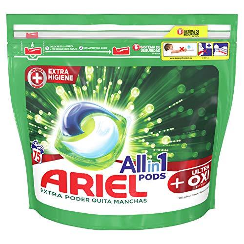 Ariel Todo En Uno Pods Con Efecto De Eliminación De Manchas OXI Detergente En Cápsulas 75Pods, 75Lavados, Perfecto Para Lavar A Baja Temperatura, Perfume Duradero
