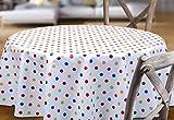 BEAUTEX Weiß, Punkte Bunt Wachstuchtischdecke glatt abwischbar Garten Tischdecke RUND OVAL ECKIG, Größe wählbar (Eckig 140x100 cm) - 3