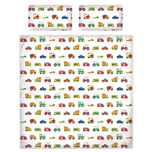 Copripiumino per bambini in 100% cotone, 200fili, motivo con auto, aerei, treni, 100% cotone, White, King Duvet Cover & 2 Pillowcase