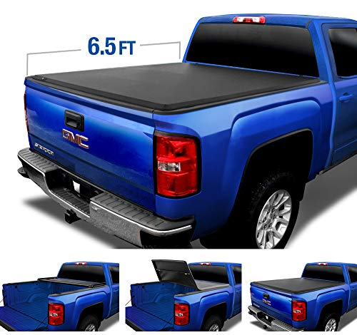 Tyger Auto T3 Soft Tri-Fold Truck Bed Tonneau Cover for 2014-2019 Chevy Silverado/GMC Sierra 1500; 2015-2019 2500 HD 3500 HD 2019 Classic ONLY Fleetside 6.5
