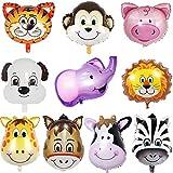 JWTOYZ Folienballon Tiere, 10 Stück Luftballons Tiere, Folienballon Kindergeburtstag, Luftballons...