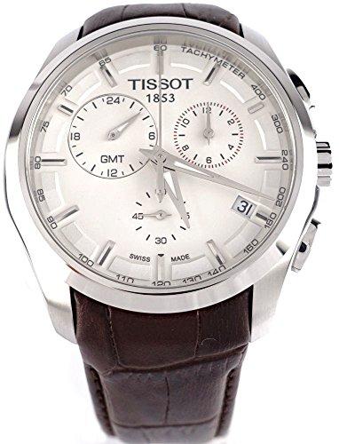 Tissot T0354391603100 - Reloj cronógrafo de caballero de cuarzo con correa de piel marrón