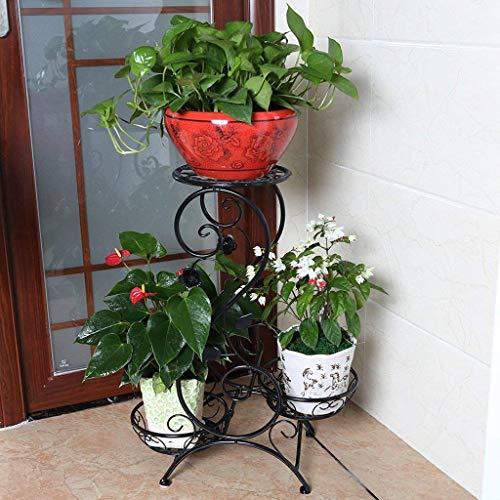 Supporto per piante europeo in ferro battuto multistrato multifunzione per interni supporto per fiori neri soggiorno balcone pianerottolo geranio retro mensola per fiori a più livelli, 50 *