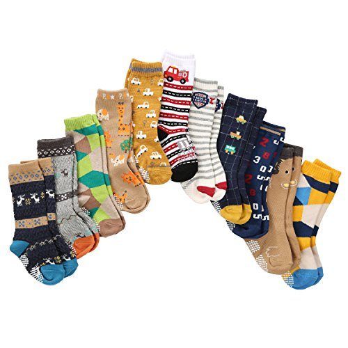 7 Pairs Toddler Boy Non Skid Socks Cotton Thick with Grips, Baby Boys Anti-skid Socks Weekly Use on Hardwood Floors in 12-36 Months (12-36 Months, 7 Colors)