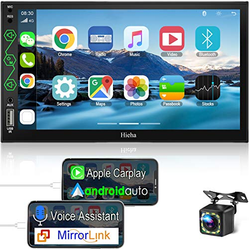 Hieha in-Dash Car Stereo Compatible with Apple CarPlay and Android Auto, 7 Inch Touch Screen Double Din Car Radio Support AM / FM / Screen Mirroring / GPS / Rear View Camera / SWC / A/V Input