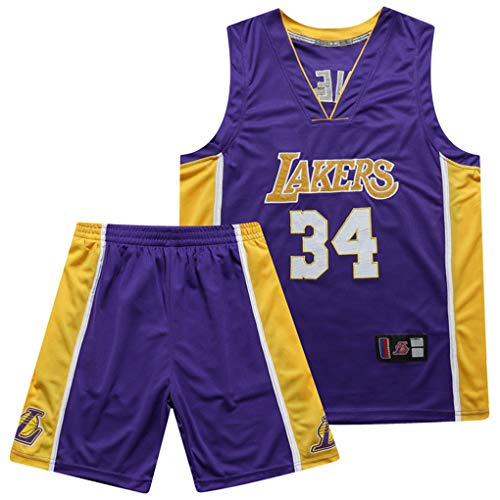 Miyapy Basketball Jersey - NBA Los Angeles Lakers #34 Shaquille O'Neal Junge Herren Anzug Jersey, Atmungsaktiv Swingman, Sommer Stickerei Basketballuniform, Basketball Tops Und Shorts