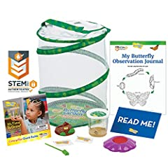 5 LIVE baby caterpillars and nutritious food Pop-up, reusable 12 inch tall mesh habitat Two Deluxe Chrysalis Station Logs and a Flower-shaped Butterfly Feeder STEM Butterfly Journal with learning activities Important NOTE! Please postpone your live o...