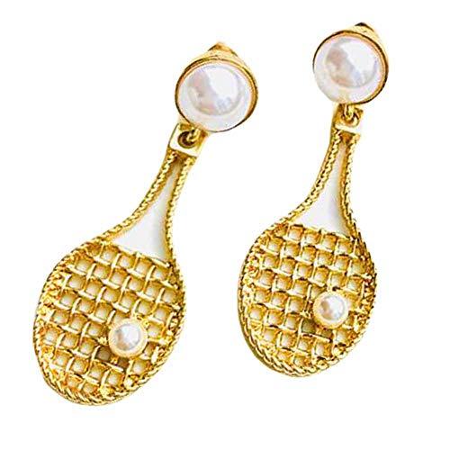 Frauen Gold Farbe Baumeln Creolen Tennisschläger Baumeln Ohrclip Fan Geschenk Clip auf Ohrringe, 3 Pairs