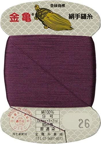 手縫い糸 『絹糸 9号 80m カード巻き 26番色』 金亀糸業