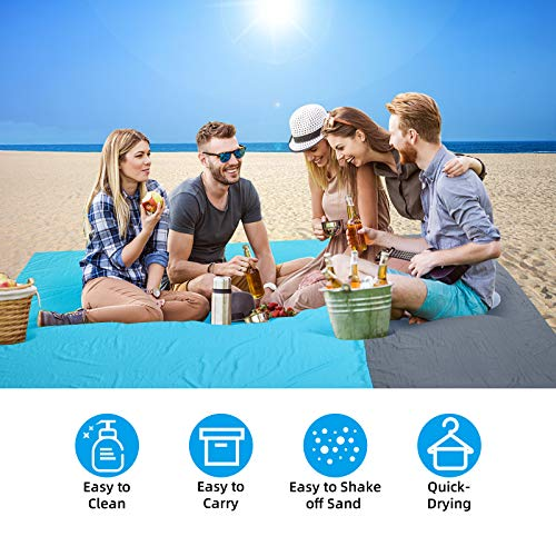 PELLOR Beach Blanket Picnic Blanket, Extra Large 79*83 IN Waterproof Sandproof Water Resistant Beach Mat with 4 Fixed Nails for Beach, Camping, Traveling, Mountaineering, with 6 Sandbags