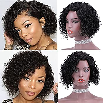 Short Curly Human Hair Wig Part Lace Pre Plucked Natural Hairline Baby Hair Jerry Curl Color Black Brazilian Virign wigs for Black Women 1B# 12inch