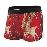 Photo de Web--ster Bigfei Merry Christmas Santa Claus Reindeer Men 's Underwear Shorts Confortables Bulge Pouch Size L