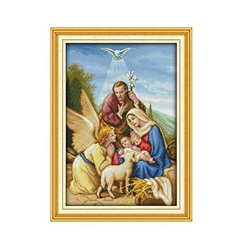 Jesus Advent Christian Religiöse Charaktere Handbuch Stickerei Kreuzstich Kit Engel diy11CT 14CT Dekobilder Handgemachte Kreuzstich (Cross Stitch Fabric CT number : 14CT Printed)