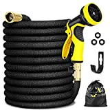 """Garden Hose Expandable 25FT, Flexible Water Hose with Powerful Nozzle Spray, Car Wash Hose with Good Pressure, Expanding hose with 3/4"""" Brass Connector, Hose with Metal 9 Function Spray Nozzle Storage"""