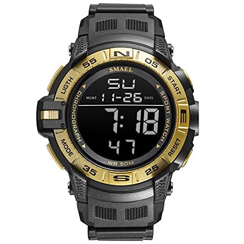 QZPM Relojes Electrónicos para Hombre Cronógrafo Impermeable para Exteriores con Retroiluminación Alarma Relojes Deportivos para Hombres,Oro
