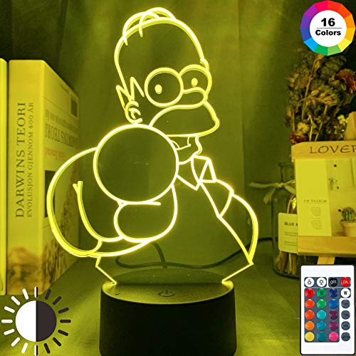 KangYD 3D Nachtlicht Animation Simpsons, LED Optische Täuschungslampe, E - Alarm Clock Base (7 Farbe), Bunte Veränderung, USB Powered, Wohnkultur, Acryl