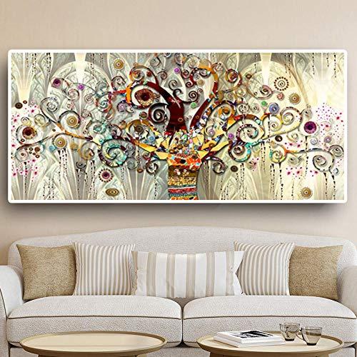 WTYBGDAN Albero della Vita Pittura a Olio Classica di Paesaggio su Tela Poster e Stampe Immagini di Quadri di Grandi Dimensioni per Soggiorno | 70x140 cm/Senza Cornice