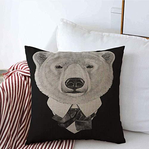 sherry-shop Throw Pillow Cover Gafas de Sol Baby Polar Bear Suit Head Black Bow Character Collar Linen 20 'x 20'