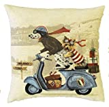 Authentic Jacquard Cotton Woven European Tapestry Pillow Covers / Decorative Gifts Throw Pillow Sham / Cushion Cover Cases 18X18 in Vintage Dogs Dalmatian and Yorkshire Terrier on Vespa Scooter Blue