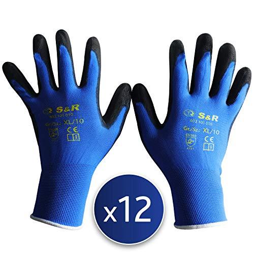 S&R 12 x Guanti da Lavoro 12 Paia in poliestere con rivestimento in PU. Guanti di Protezione contro strappi e abrasioni. Misura XL 10