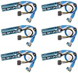 Ziyituod 6-Pack PCIe 6-Pin 16x to 1x Powered Riser Adapter Card w / 60cm USB 3.0 Extension Cable & 6-Pin PCI-E to SATA Power Cable - GPU Riser Adapter - Ethereum Mining Eth
