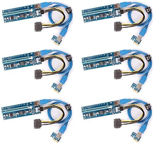 Ziyituod 6-Pack PCIe 6-Pin 16x to 1x Powered Riser Adapter Card w...