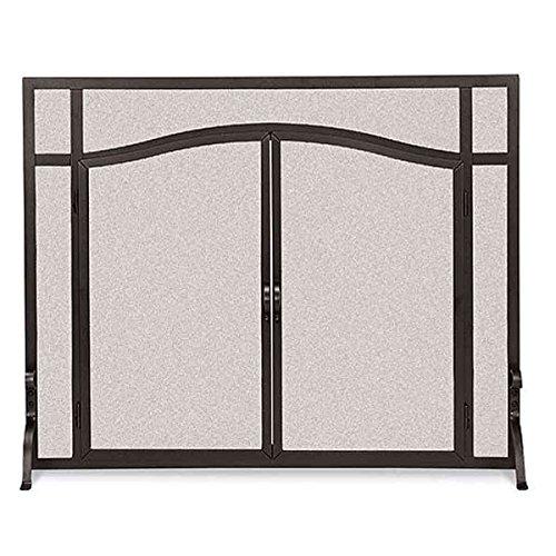Amazing Deal Flat Fireplace Screen w Doors in Black (39 in. Width)