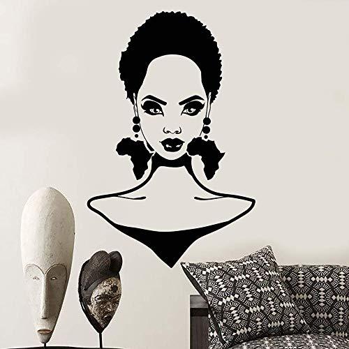 Geiqianjiumai Oorbellen Afrikaanse continent kapsel meisje silhouet muur salon muurdecoratie decal kapper winkel