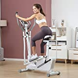 DEAR-JY 3 in 1 Magnetic Control Cross Trainers Elliptical Machine Spinning Exercise Bikes Treadmill Space Walker Machine with Seat Gym Household Portable Small Ultra Quiet Fitness Equipment