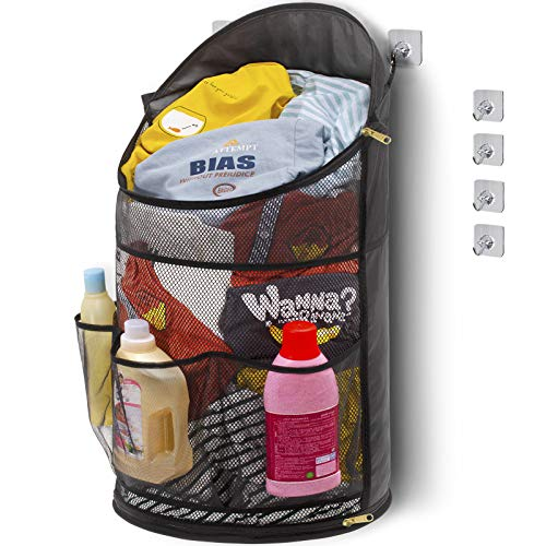 TENRAI Smart Hanging Laundry Hamperwith YKK Zipper Extra Large Opening Dirty Clothes Basket Foldable Mesh Hamper Dirty with Side Pocket