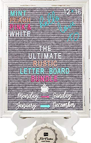 Rustic Felt Letter Board Ultimate Bundle Farmhouse Vintage White Wood Frame and Stand by Felt Creative Home Goods Changeable Message Memo Board 800+ Letter Set (Gray, 12x16)