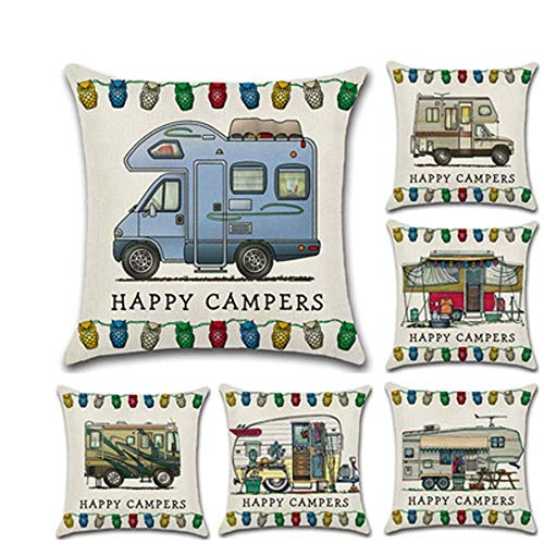 (6 Pieces) Linen Hug Pillowcase Cushion Cover, Cartoon Camper Car Rv Dining Car Series