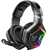ONIKUMA Gaming Headset for PS4 ,Xbox One, 7.1 Surround Sound Noise Canceling Microphone &RGB LED Light, Compatible with PC,Game Boy Advance,Nintendo Switch (Adapter Not Included)