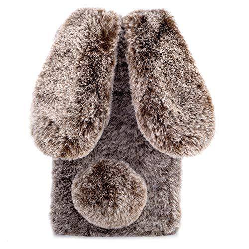 HongHushop Plüsch Hülle für Wiko Lenny 5 Niedlich Pelzig Flauschige Hase Ohren Weich Schützend Handy Abdeckung Schale für Wiko Lenny 5 -Braun