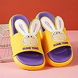WENHUA Mujer Zapatos, Pantuflas para Hotel Casa Viaje, Zapatillas Antideslizantes Conejo de Dibujos Animados Hermosa Palabra Drag, Yellow_37-38